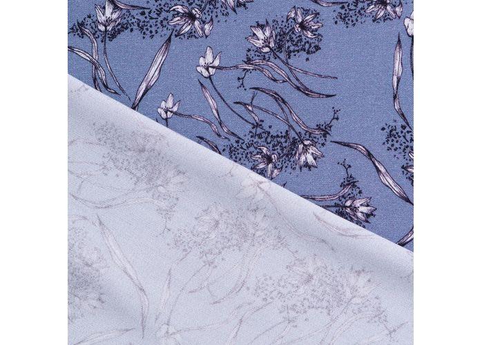Tkanina bambusowa białe kwiaty na niebieskoszarym