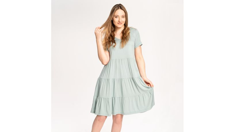 Kurs online szycia sukienki Liberte z falbanami